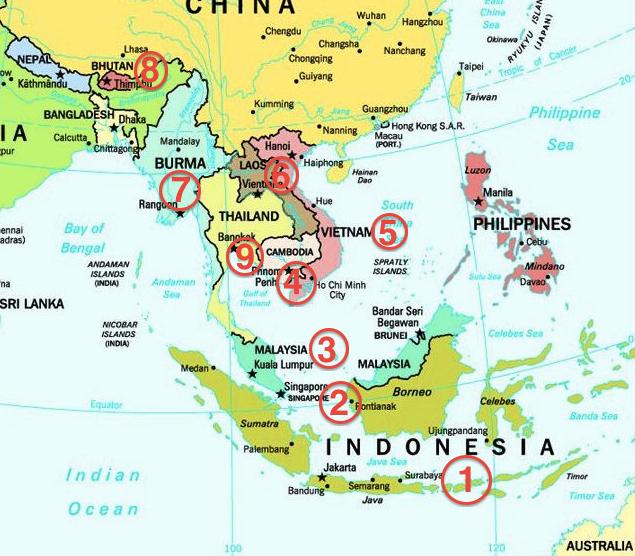 mapa sudoeste asiatico SUDESTE ASIÁTICO – PRIMER DESTINO   mapa sudoeste asiatico